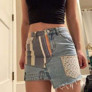 urban outfitters patched denim skirt